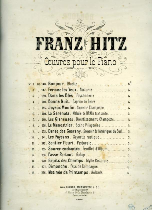 BONJOUR - BLUETTE POUR PIANO - OP.146.