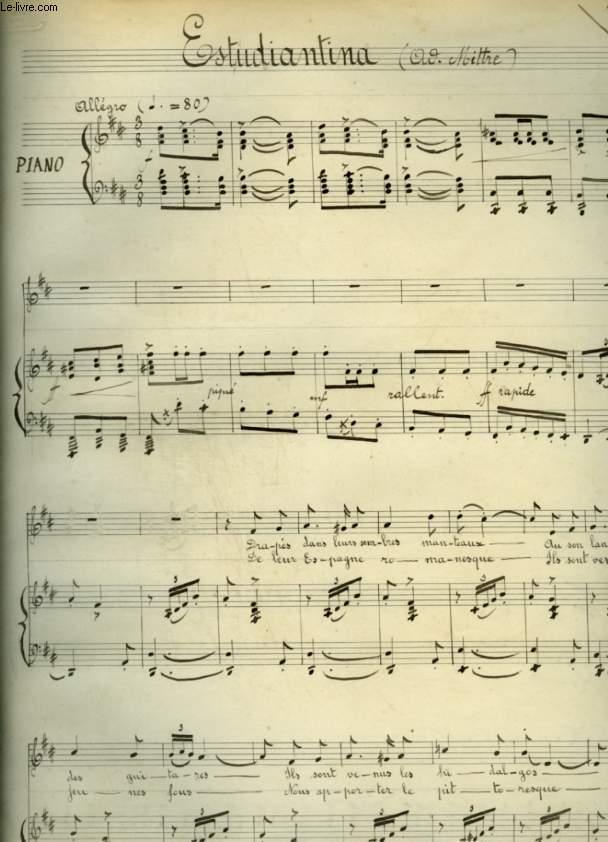 ESTUDIANTINA - PARTITION MANUSCRITE POUR PIANO ET CHANT AVEC PAROLES.