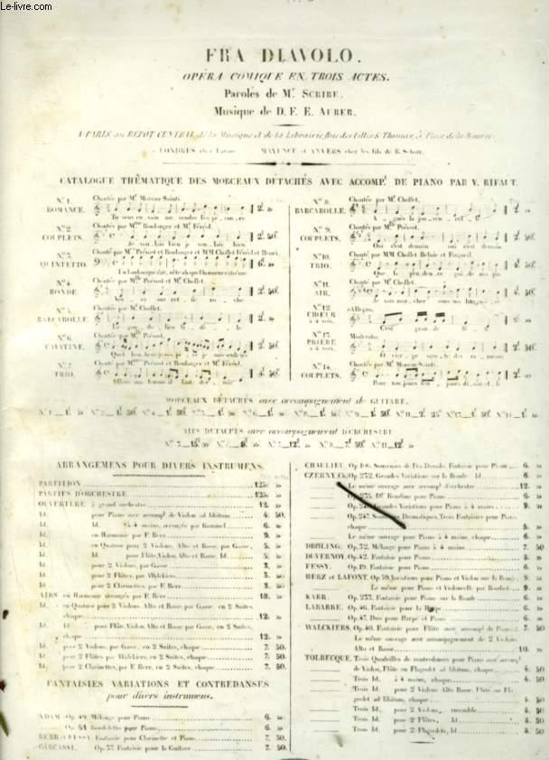 FRA DIAVOLO - N°8 : BARCAROLLE POUR PIANO ET CHANT AVEC PAROLES.