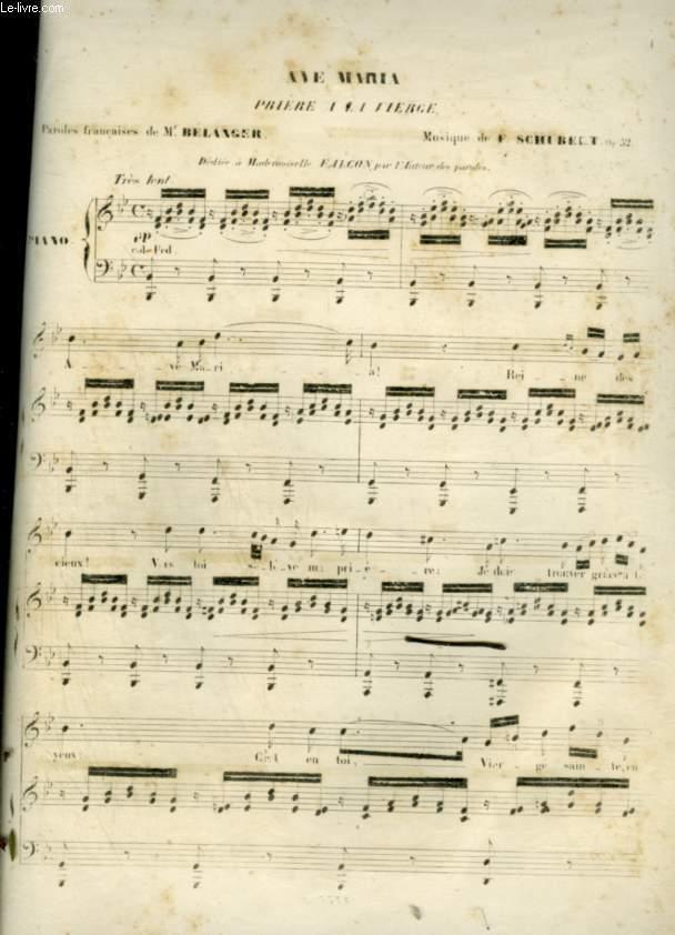 AVE MARIA - PRIERE A LA VIERGE - POUR PIANO ET CHANT - OP.52.