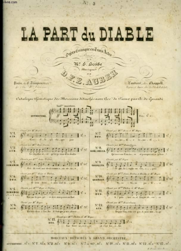 LA PART DU DIABLE - N°5 : ROMANCE A 1 OU A 2 VOIX POUR PIANO ET CHANT AVEC PAROLES.
