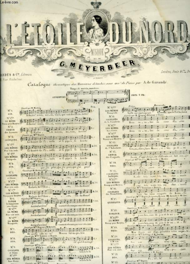 L'ETOILE DU NORD - N°10 BIS : PRIERE ET BARCAROLLE - POUR PIANO ET CHANT AVEC PAROLES.