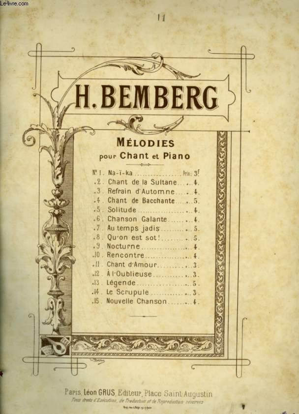 MELODIES - N°11 : CHANT D'AMOUR - POUR PIANO ET CHANT AVEC PAROLES / MEZZO SOPRANO OU BARYTON.
