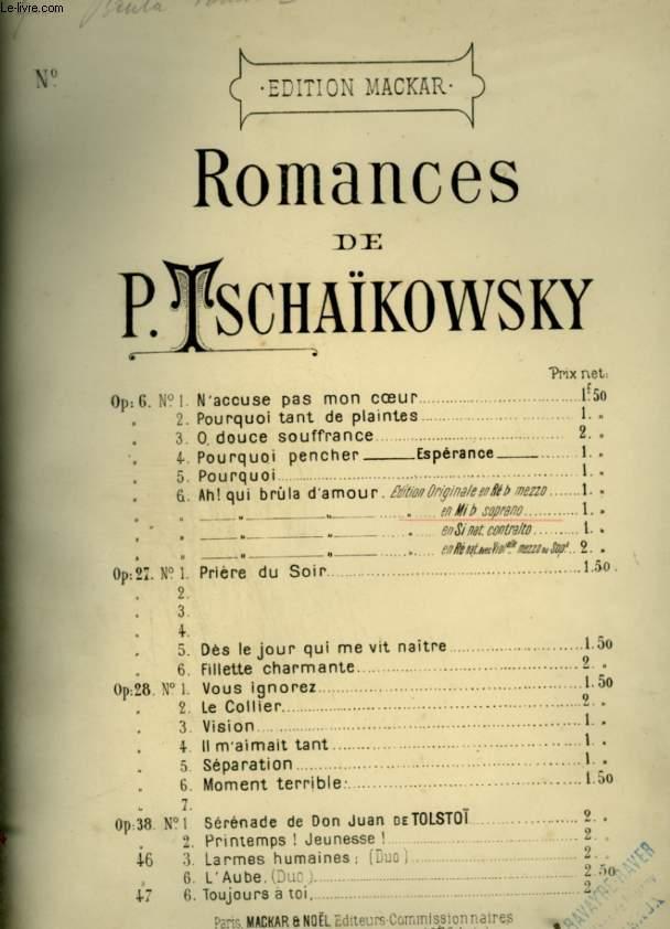 ROMANCES - OP.6 N°6 : EDITION EN MI BEMOL - POUR PIANO ET CHANT AVEC PAROLES.