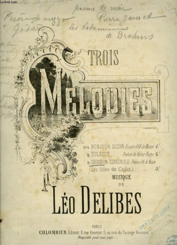 TROIS MELODIES - N°3 : CHANSON ESPAGNOLE POUR PIANO ET CHANT AVEC PAROLES.