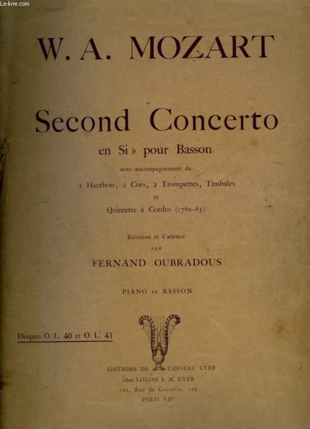 SECOND CONCERTO - POUR PIANO ET BASSON.