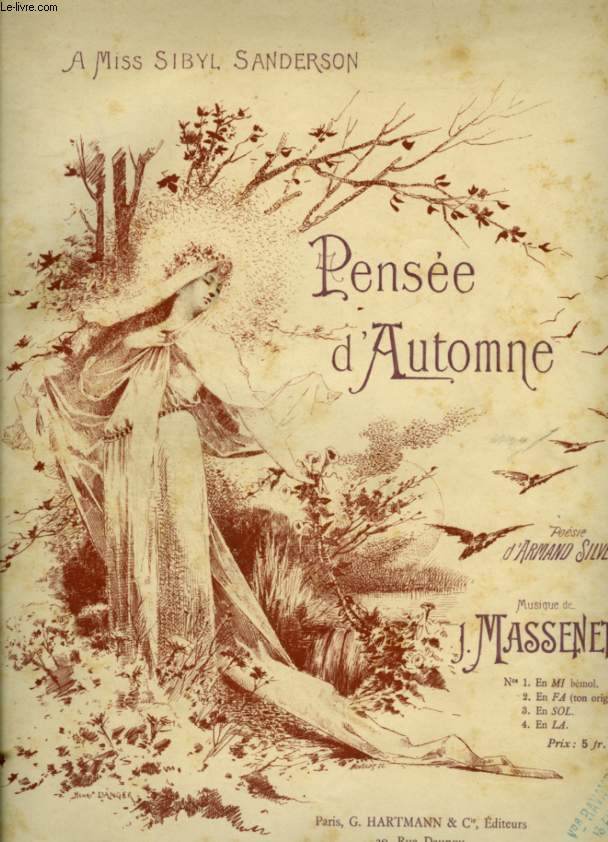PENSEE D'AUTONOMNE - POUR PIANO ET CHANT AVEC PAROLES - N°2 : TON ORIGINAL.