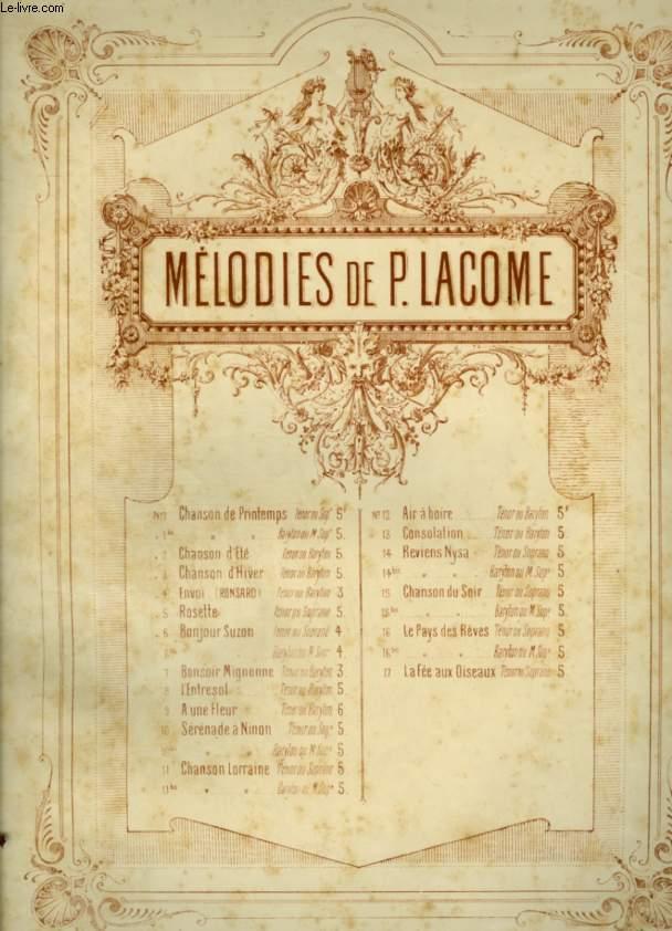 MELODIES DE P. LACOME - N°6 : BONJOUR SUZON ! - POUR PIANO ET CHANT AVEC PAROLES.