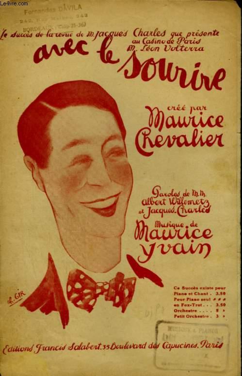 AVEC LE SOURIRE - PARTITION POUR CHANT AVEC PAROLES.