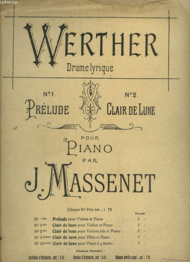 WERTHER - N°1 : PRELUDE - POUR PIANO.