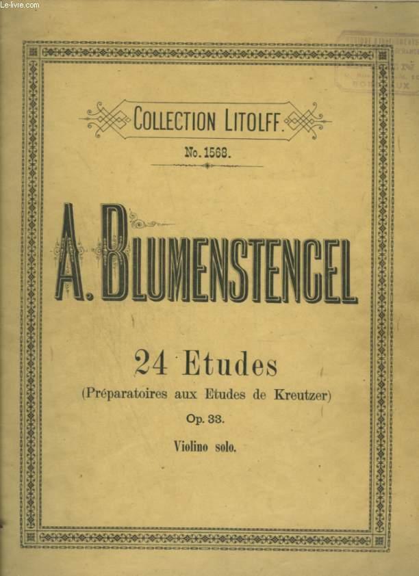 24 ETUDES (PREPARATOIRES AUX ETUDES DE KREUTZER) - OP.33 - VIOLON SOLO.