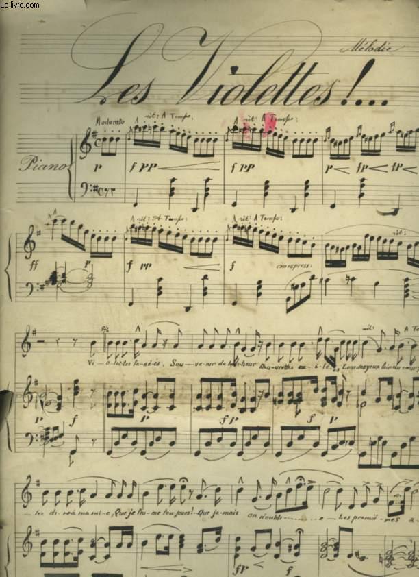 LES VIOLETTES - PARTITION MANUSCRITE POUR PIANO AVEC CHANT.