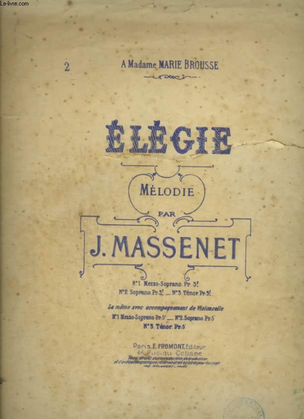 ELEGIE - PARTITION POUR PIANO + CHANT AVEC PAROLES