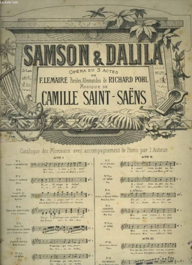 SAMSON & DALILA - N°7 : AIR DE DALILA - POUR PIANO ET CHANT MEZZO SOPRANO AVEC PAROLES FRANCAISES ET ALLEMANDES.