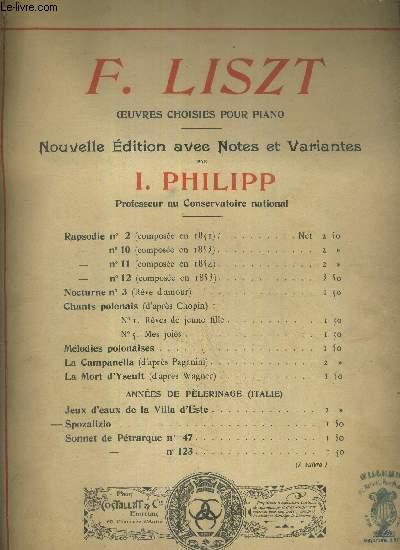 SPOSALIZIO - OEUVRES CHOISIES POUR PIANO - NOUVELLE EDITION AVEC NOTES ET VARIANTES PAR I. PHILIPP - PROFESSEUR AU CONSERVATOIRE NATIONAL