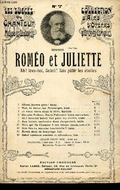 ROMEO ET JULIETTE - OPERA EN 5 ACTES - CAVATINE CHANTEE PAR Mr MICHOT N°7