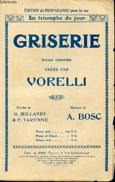 GRISERIE - VALSE CHANTEE - CREEE PAR VORELLI
