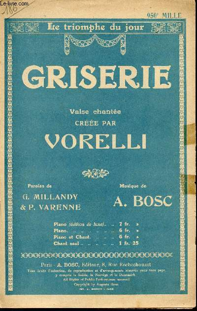 GRISERIE - VALSE CHANTEE CREEE PAR VORELLI