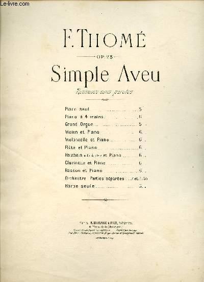 SIMPLE AVEU - ROMANCE SANS PAROLE - OP25