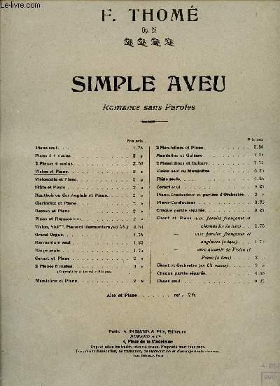 SIMPLE AVEU - PIANO ET VIOLON OP25
