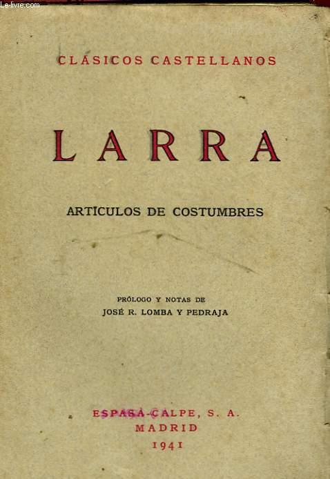 I, ARTICULOS DE COSTUMBRES