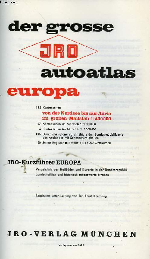 DER GROSSE JRO AUTOATLAS EUROPA