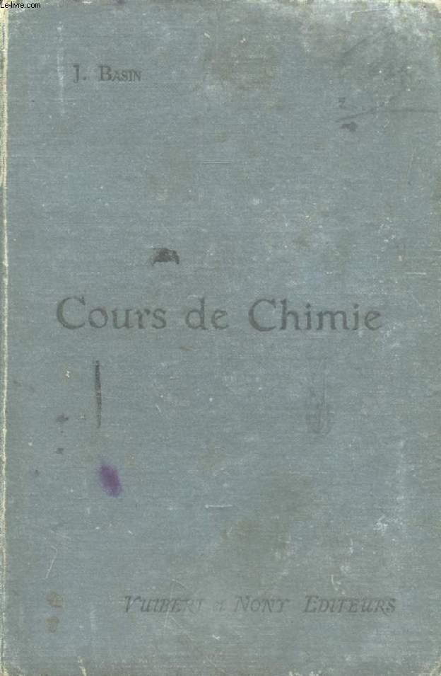 COURS DE CHIMIE A L'USAGE DES CANDIDATS AUX ECOLES D'ARTS ET METIERS