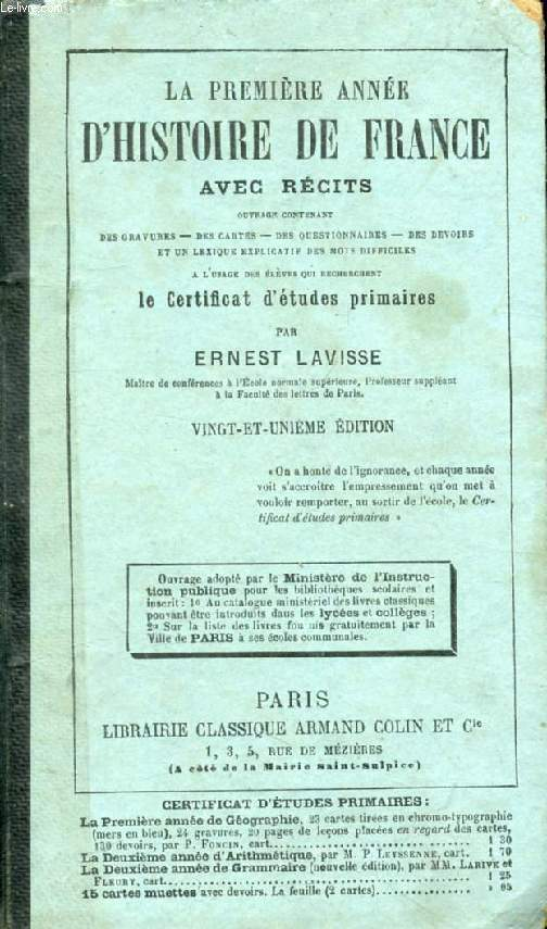 LA PREMIERE ANNEE D'HISTOIRE DE FRANCE, AVEC RECITS