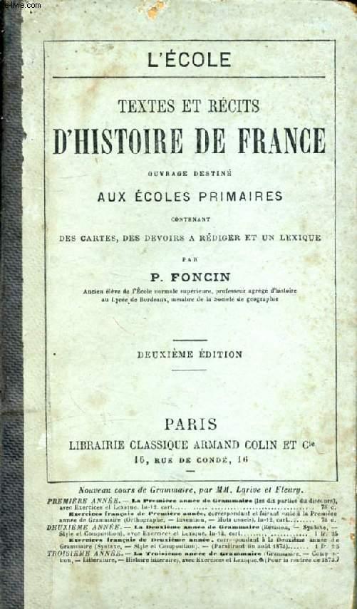 TEXTES ET RECITS D'HISTOIRE DE FRANCE, ECOLES PRIMAIRES