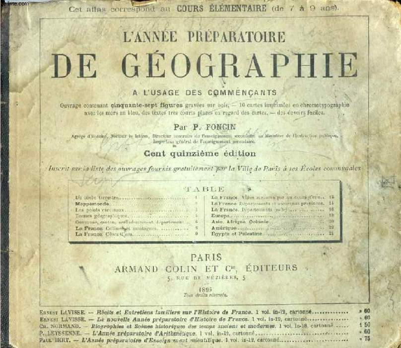 L'ANNEE PREPARATOIRE DE GEOGRAPHIE, A L'USAGE DES COMMENCANTS