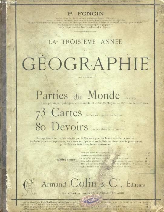 LA TROISIEME ANNEE DE GEOGRAPHIE, LES CINQ PARTIES DU MONDE