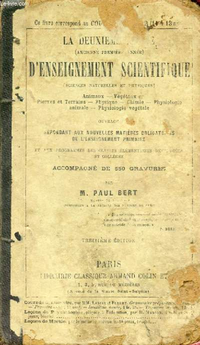 LA DEUXIEME ANNEE D'ENSEIGNEMENT SCIENTIFIQUE (SCIENCES NATURELLES ET PHYSIQUES)