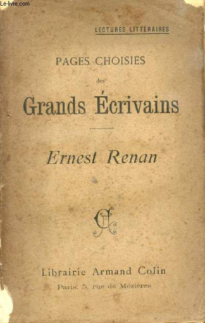 PAGES CHOISIES DES GRANDS ECRIVAINS, RENEST RENAN
