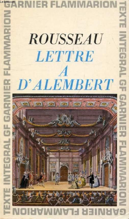 LETTRE A M. D'ALEMBERT SUR SON ARTICLE, GENEVE