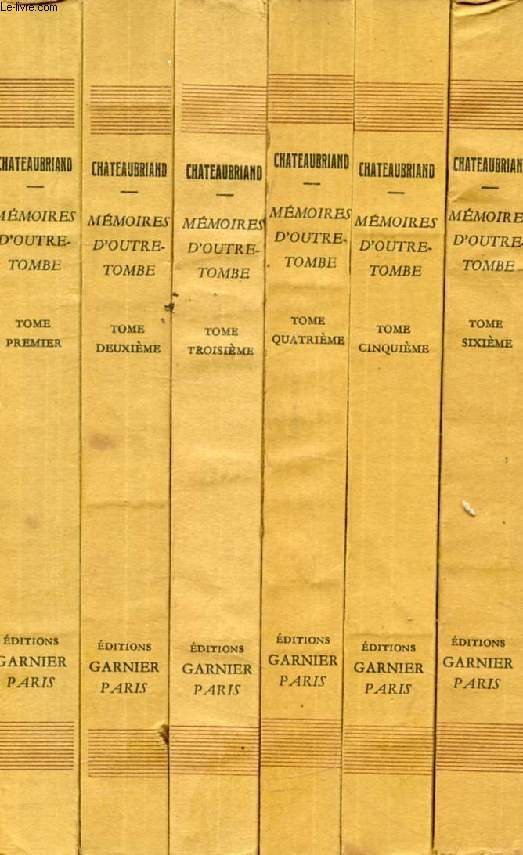 MEMOIRES D'OUTRE-TOMBE, 6 TOMES