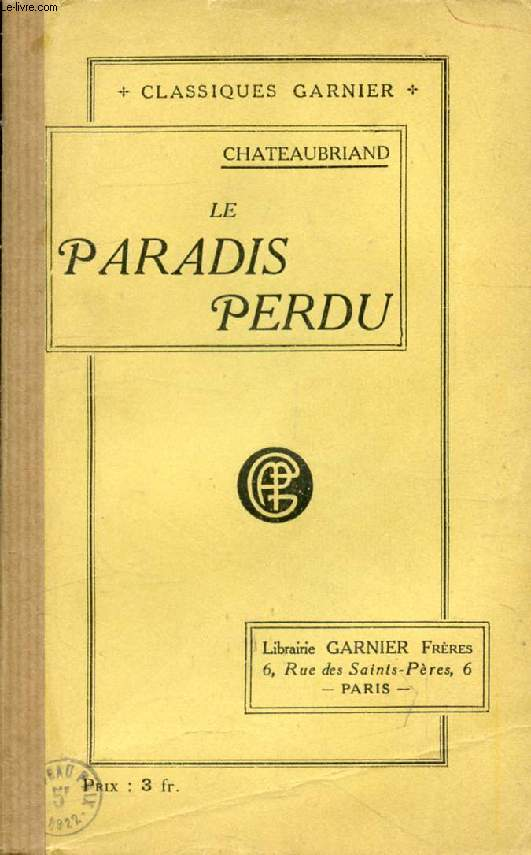 LE PARADIS PERDU, Suivi de ESSAI SUR LA LITTERATURE ANGLOISE