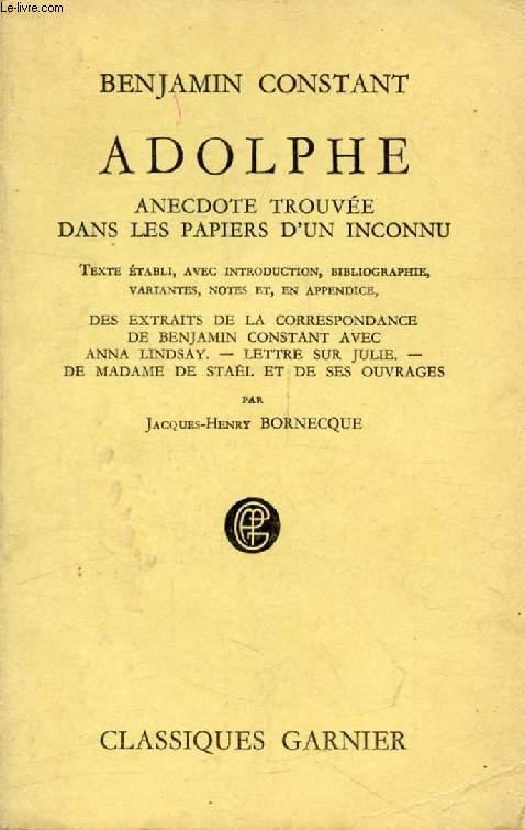 ADOLPHE, ANECDOTE TROUVEE DANS LES PAPIERS D'UN INCONNU