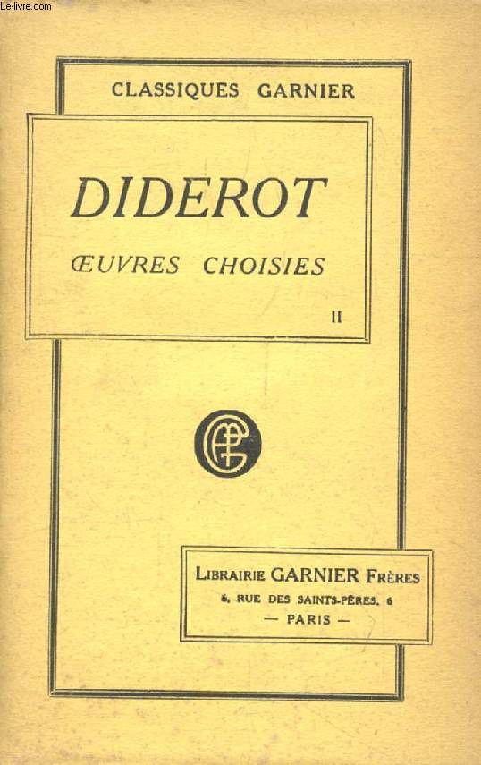 OEUVRES CHOISIES DE DIDEROT, TOME II