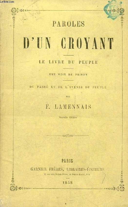 PAROLES D'UN CROYANT, LE LIVRE DU PEUPLE