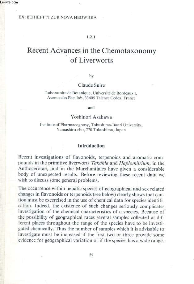 RECENT ADVANCES IN THE CHEMOTAXONOMY OF LIVERWORTS
