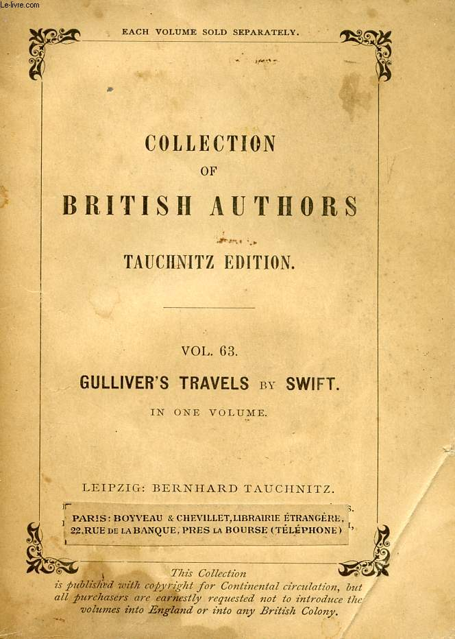 GULLIVER'S TRAVELS INTO SEVERAL REMOTE NATIONS OF THE WORLD (COLLECTION OF BRITISH AUTHORS, VOL. 63)