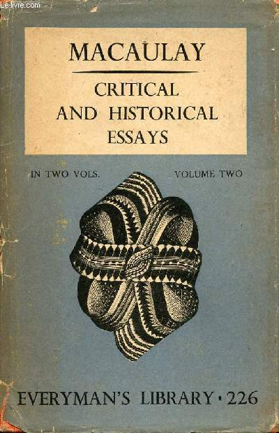 CRITICAL AND HISTORICAL ESSAYS, VOL. II