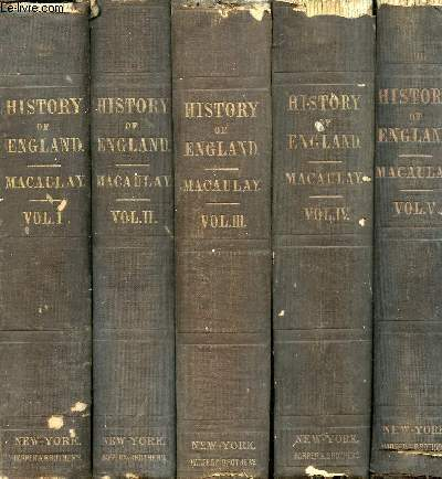 THE HISTORY OF ENGLAND FROM THE ACCESSION OF JAMES II, 5 VOLUMES (COMPLETE)