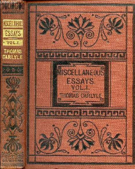 CRITICAL AND MISCELLANEOUS ESSAYS, VOL. I