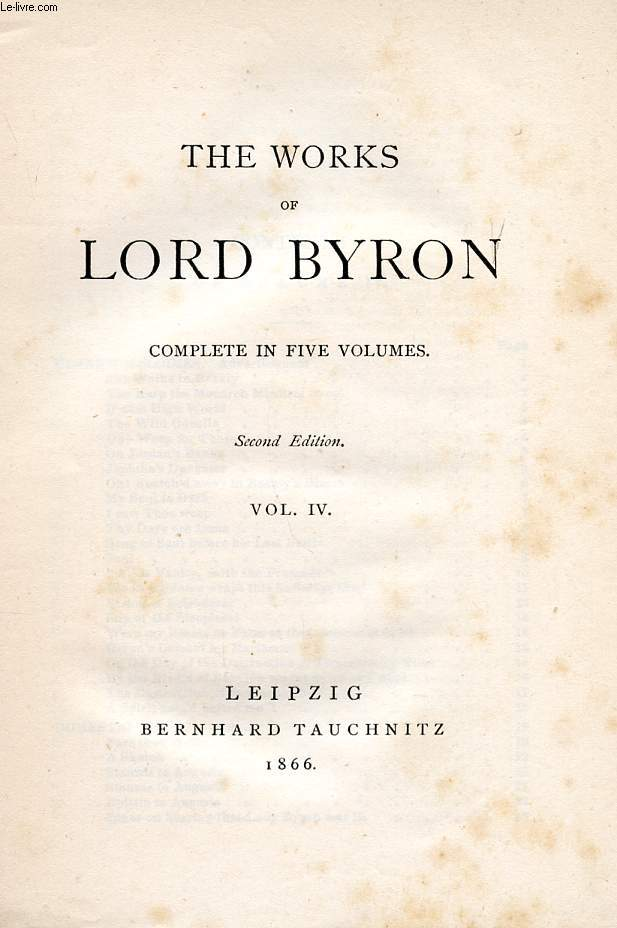 THE WORKS OF LORD BYRON, VOL. IV (COLLECTION OF BRITISH AUTHORS, VOL. XI)