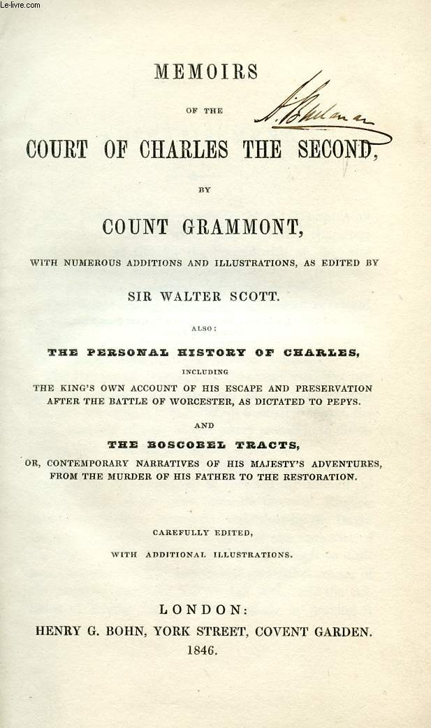MEMOIRS OF THE COURT OF CHARLES THE SECOND, BY COUNT GRAMMONT
