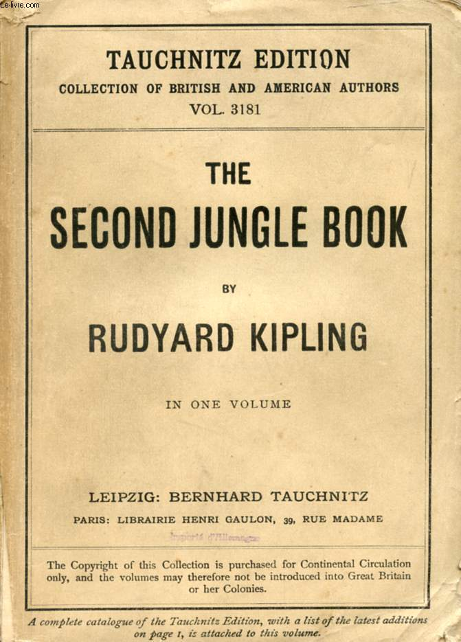 THE SECOND JUNGLE BOOK (COLLECTION OF BRITISH AND AMERICAN AUTHORS, VOL. 3181)