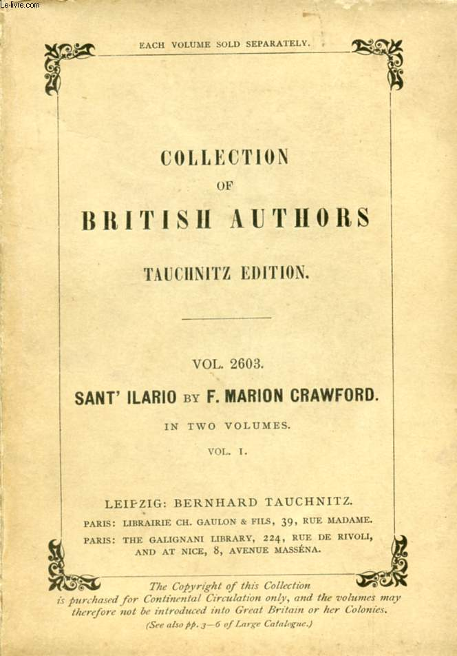 SAINT'ILARIO, 2 VOLUMES (COLLECTION OF BRITISH AND AMERICAN AUTHORS, VOL. 2603-2604)
