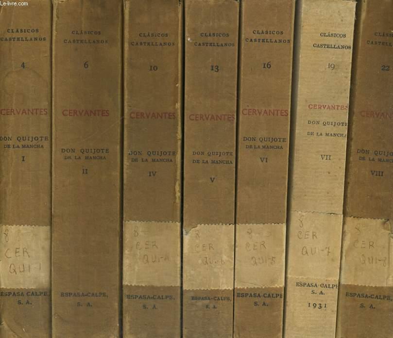 DON QUIJOTE,  EN 7 VOLUMES : I,II, IV A VIII, MANQUE LE VOLUME III