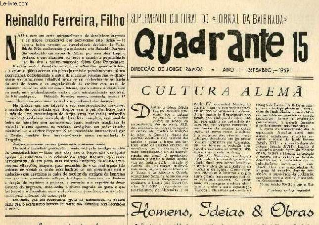 QUADRANTE, 10 NUM., 1959-1964, SUPLEMENTO CULTURAL DO JORNAL DA BAIRRADA